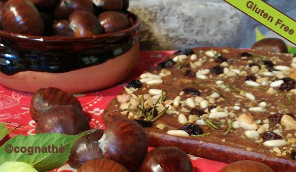 castagnaccio, melissa, senza glutine, gluten free, senza lattosio, uvetta, farina di castagne, noci, cognathe, infuso