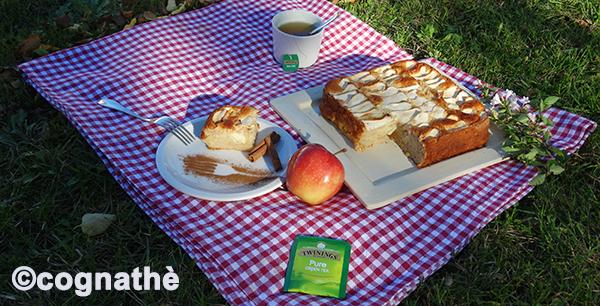 Torta di mele, twinings, thè verde, cognathè