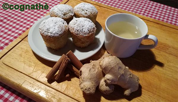 cognathe, cannella, tisana, zenzero, zucchine, muffin, muffin dolci, ricette, farina di mandorle, pistacchi