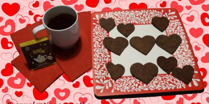 tisana di san valentino, vaniglia, cioccolato,c acao, english tea shop, thè san valentino, tè san valentino, pasta frolla al cacao e biscottini a forma di cuore, cognathe, san valentino, tisane, thè, cioccolato, cacao, vaniglia, pasta frolla, amore, cognate