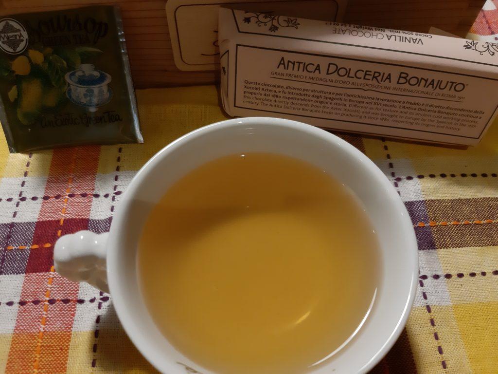 Cioccolata di Modica e tè verde MlsnA, tè verde, soursop, frutta esotica, tè, tisana, infusi, cioccolato, modica, sicilia, ricette, cognathe, cognathe blog